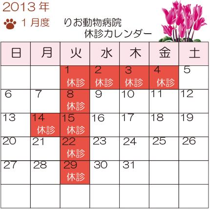 1月度休診カレンダー